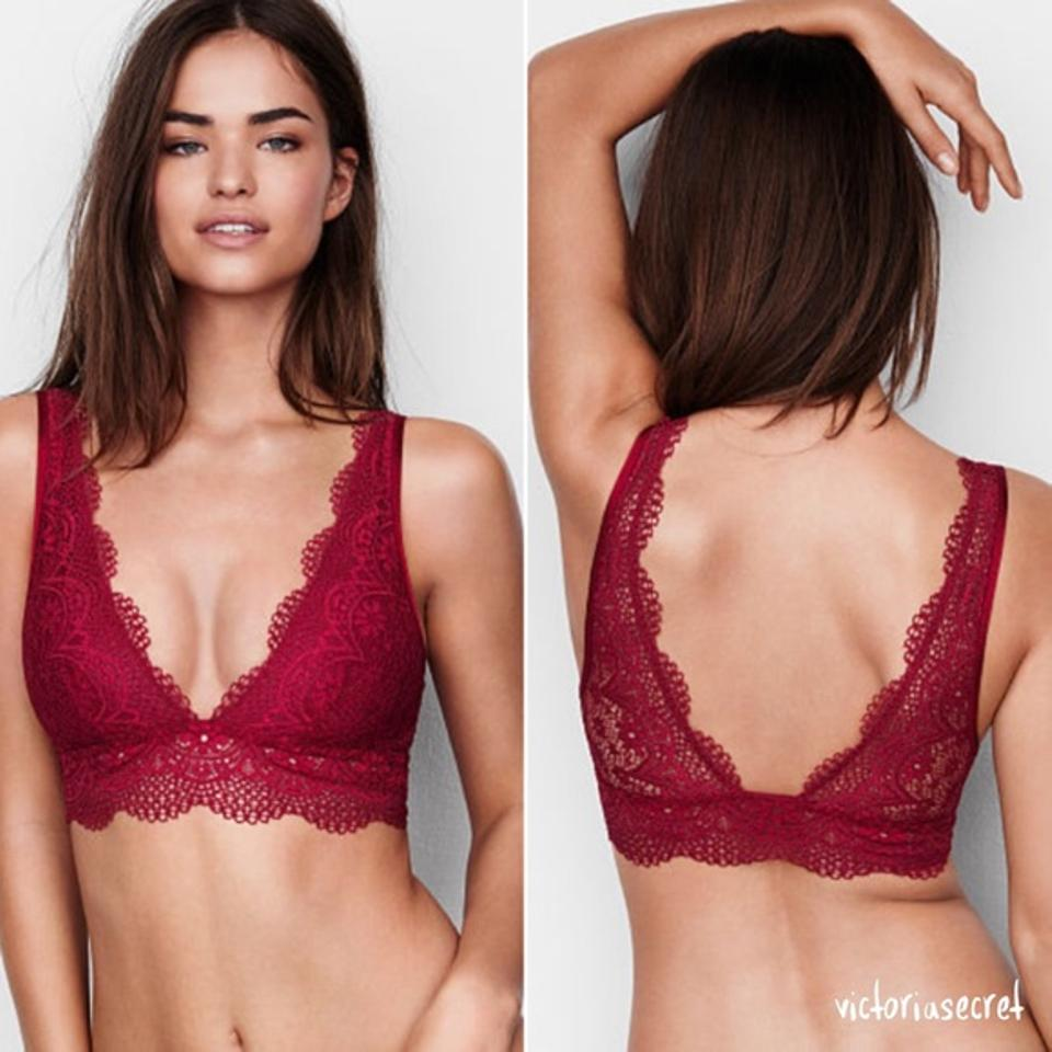 Victoria's Secret V neck Sexy Lace Long Line Plunge Bralette Bra ...