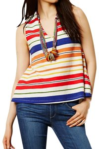 Anthropologie Swing Silhouette Deep V Neck Bold Colorful Boxy Fit Top Striped