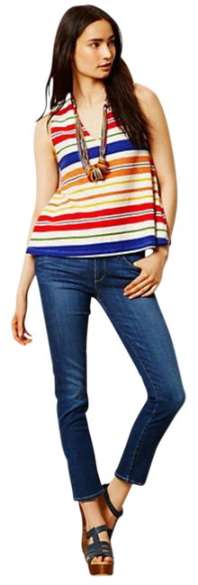 Anthropologie Swing Silhouette Deep V Neck Bold Colorful Boxy Fit Top Striped Image 2