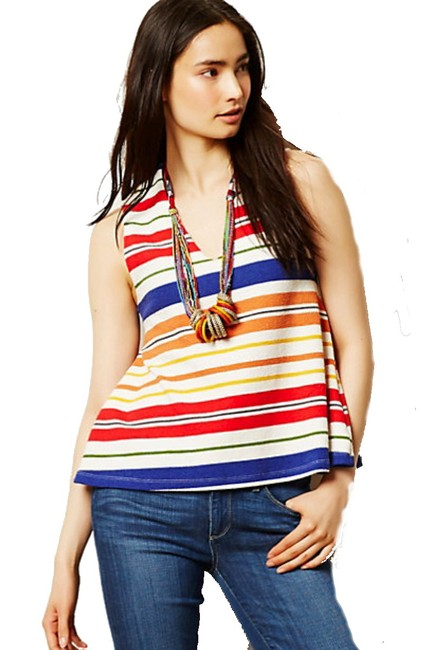 Anthropologie Swing Silhouette Deep V Neck Bold Colorful Boxy Fit Top Striped Image 3