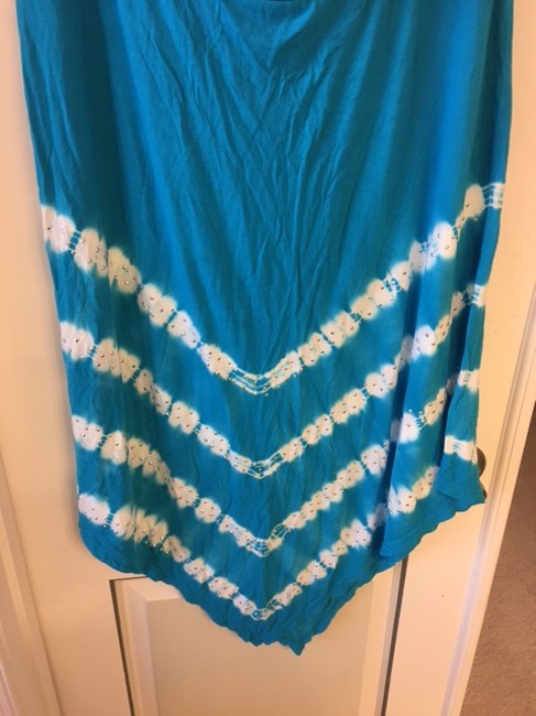 INC International Concepts Studded Skirt Turquoise Blue/ White/Silver Image 1