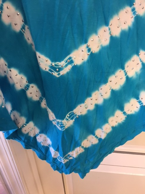 INC International Concepts Studded Skirt Turquoise Blue/ White/Silver Image 5
