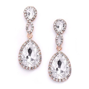 Mariell Rose Gold Crystal Teardrop Earrings With Braided Top 4547e-cr-rg