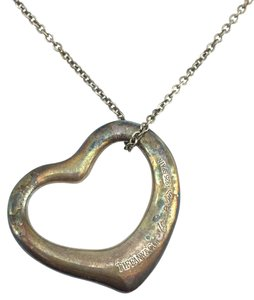 Tiffany & Co. #11178 Large Open Heart Necklace Peretti with Chain 925