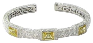 Judith Ripka Estate Collection 3 Baguette Bracelet Canary Crystal White Sapphires
