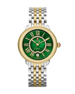 Michele NEW Serein 16 Diamond Dial Green Two Tone Gold MWW21B000073 Watch