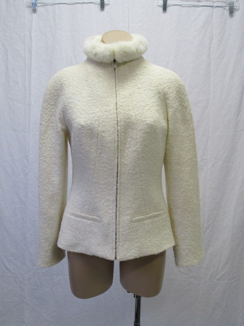 Alexander McQueen Rabbit Fur Collar Size 10 Made In Italy Cream Wool Blend Boucle Jacket Image 1