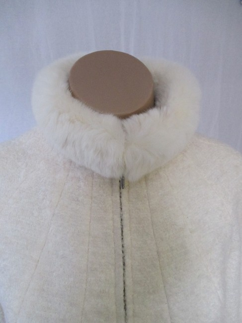 Alexander McQueen Rabbit Fur Collar Size 10 Made In Italy Cream Wool Blend Boucle Jacket Image 3