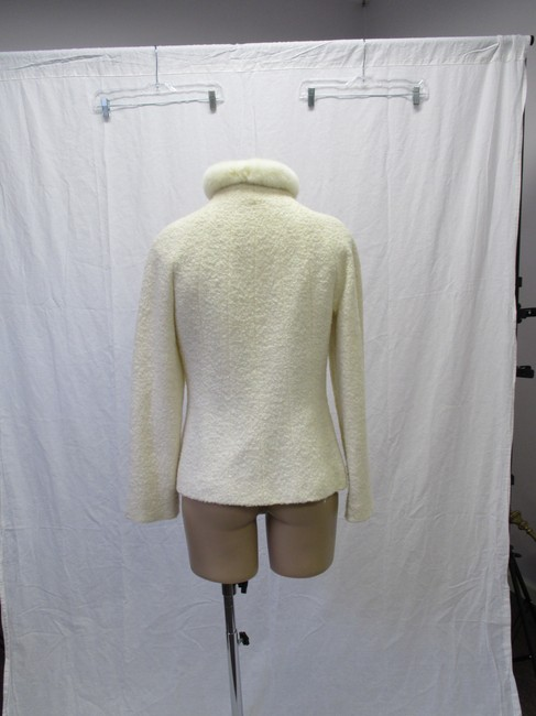 Alexander McQueen Rabbit Fur Collar Size 10 Made In Italy Cream Wool Blend Boucle Jacket Image 5