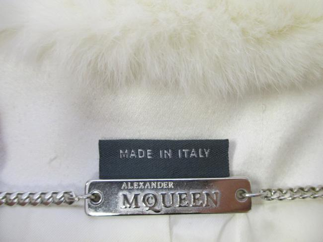 Alexander McQueen Rabbit Fur Collar Size 10 Made In Italy Cream Wool Blend Boucle Jacket Image 8