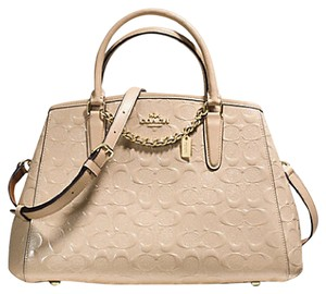 Coach Patent Leather Embossed Logo Satchel in Beige