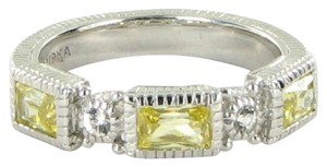 Judith Ripka Estate Ring 3 Baguette Canary White Sapphires Sterling Silver Sz 7