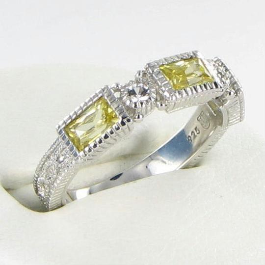 Judith Ripka Estate Ring 3 Baguette Canary White Sapphires Sterling Silver Sz 7 Image 1