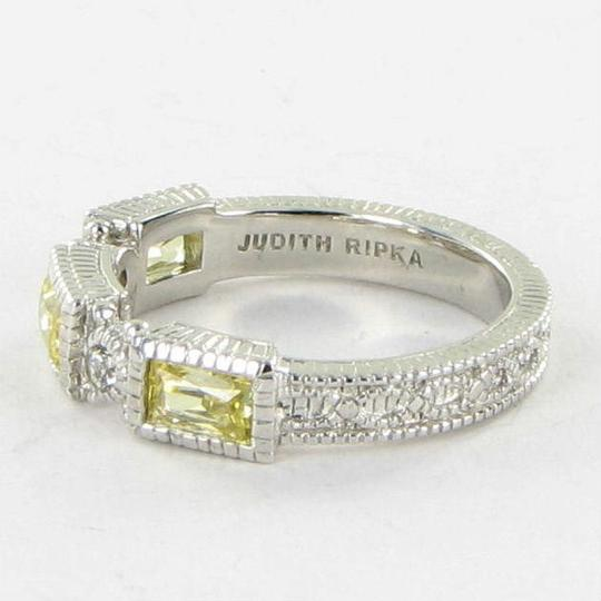 Judith Ripka Estate Ring 3 Baguette Canary White Sapphires Sterling Silver Sz 7 Image 2