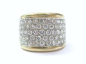 Other Fine WIDE Round Cut Diamond 5-Row Cluster Ring Yellow Gold 1.65CT