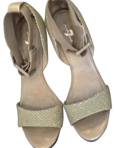 7 For All Mankind Sage green leather Wedges