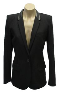Barbara Bui Leather Accents Size 4 Wool Black Blazer