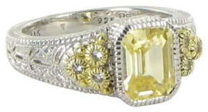 Judith Ripka Small Estate Collection Ring Canary White Sapphires 18k YG 925 Sz 7