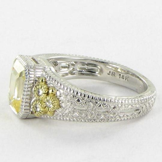 Judith Ripka Small Estate Collection Ring Canary White Sapphires 18k YG 925 Sz 7 Image 2