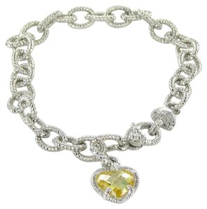 Judith Ripka Fontaine Bracelet Canary Yellow Chain Link Sterling Silver