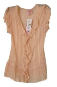 Dolled Up Button Down Shirt Peach
