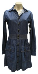FRAME short dress Blue Denim Long Sleeved New With Tags Size 4 on Tradesy