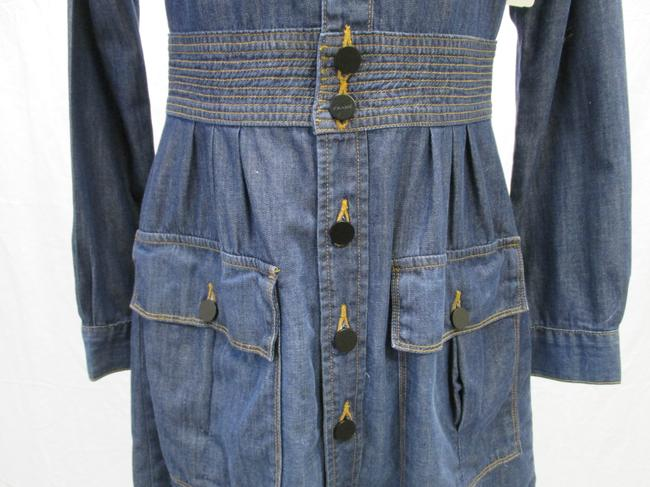 FRAME short dress Blue Denim Long Sleeved New With Tags Size 4 on Tradesy Image 1