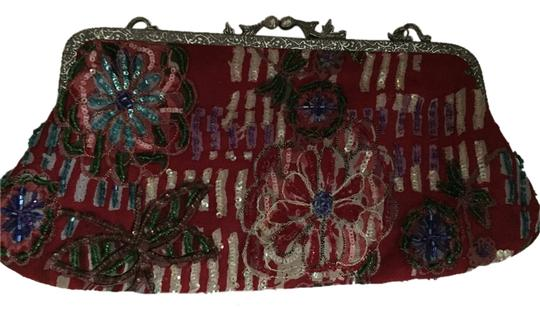 Christiana Vintage Beaded Floral red Clutch