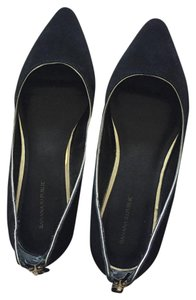 Banana Republic Black Suede Leather with gold tone Flats