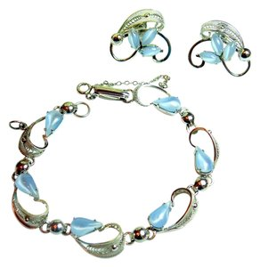 Alice Caviness Vintage Sterling Silver Alice Caviness Blue Moonstone Bracelet & Earrings Set