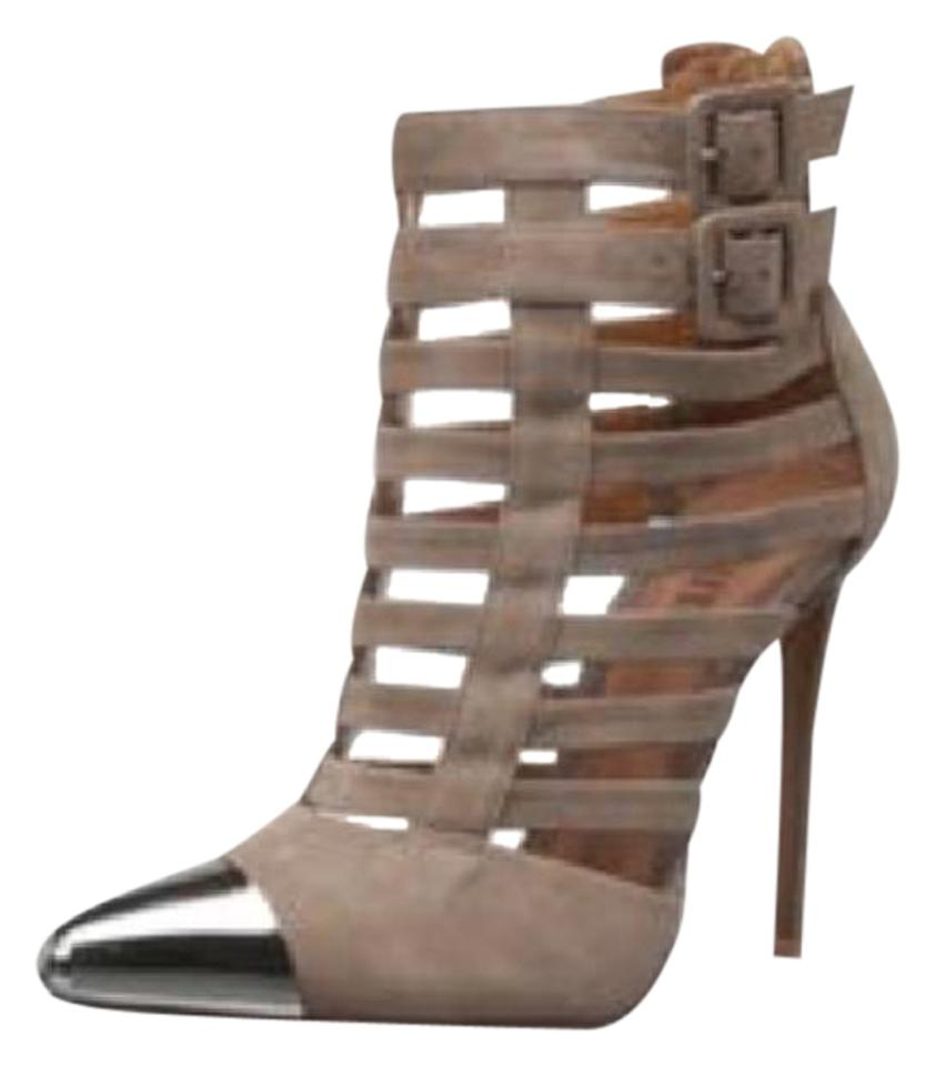 SCHUTZ Taupe Cutout with Silver Boots/Booties Cap Toe Boots/Booties Silver 8bbdb0