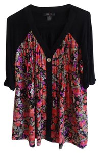 Style & Co Top Black with coral flowered front