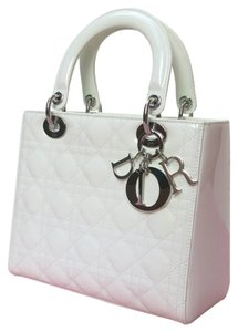 Dior Lady Medium Lady Patent Tote in White
