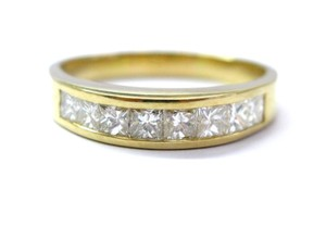 Other 18KT Princess Cut Diamond Channel Set Band Ring 8-Stone Yellow Gold 1.