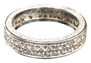 Other Fine Round Diamond Pave 2-Row White Gold Band Ring 14Kt 1.40Ct Sz 4.25