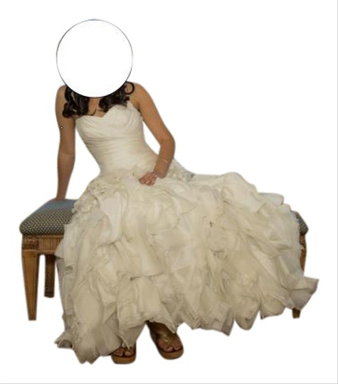 Maggie Sottero Off White Organza Alandra Sexy Wedding Dress Size 6 (S)