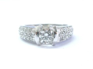 Other Fine Round Cut Diamond Solitaire W Accents Pave Engagement Ring WG .92