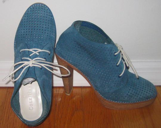 Cole Haan Perforated Lace-up Suede Blue Boots Image 1