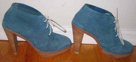 Cole Haan Perforated Lace-up Suede Blue Boots Image 2