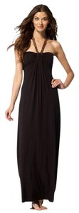 Black Maxi Dress by Cache Faux Leather Gold Halter Maxi