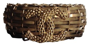Chanel NIB NEW Chanel BRONZE-METAL BAMBOO Basket Resin Cuff Bracelet