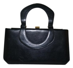 Susan Gail Vintage Accordian Leather Satchel in black