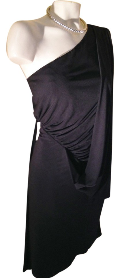 Dalia MacPhee Black Asymetrical One Shoulder Ruched Panel-sale Mid-length  Cocktail Dress Size 10 (M) 83% off retail