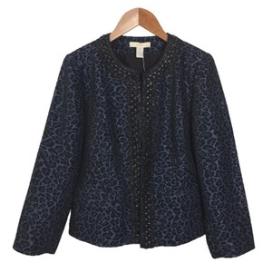Chico's Animal Print Embellished Longsleeve Spring Fall BLACK/ NAVY Blazer