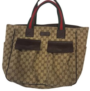 Gucci Tote in Tan, Green and Red
