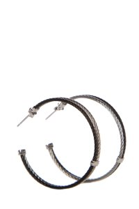 Charriol Charriol Stainless Steel & Sterling Silver Cable Hoop Earrings