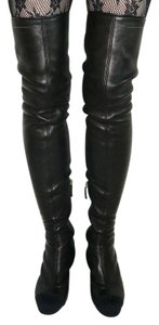 Chanel Over The Knee Logo Black Boots
