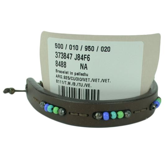 Gucci GUCCI 373847 Brown Leather Multicolor Beads Bracelet Image 4