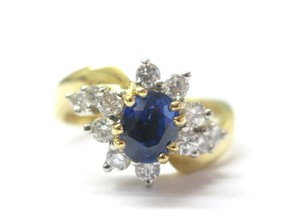 Other 18Kt Gem Sapphire Diamond Anniversary Jewelry Ring YG 1.60CT