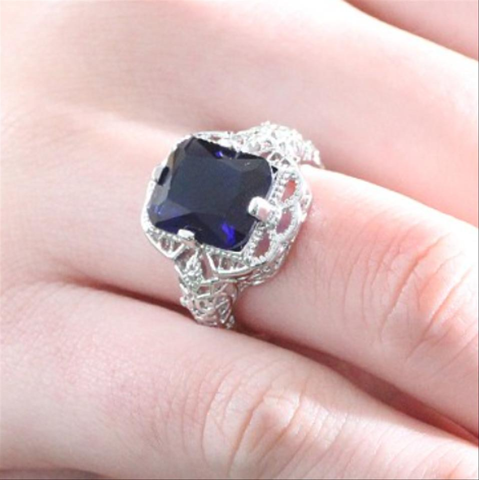 Blue Luxury Newest Dark Cubic Zirconia 925 Sterling Silver Ring ...